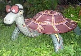 Объемная черепаха из шины