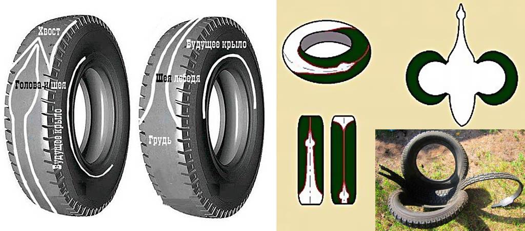 Разметка, схема выкройки и заготовка лебедя из шины