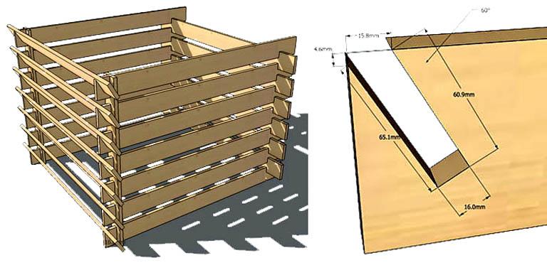 Усовершенствованный ящик из досок для двух способов компостирования