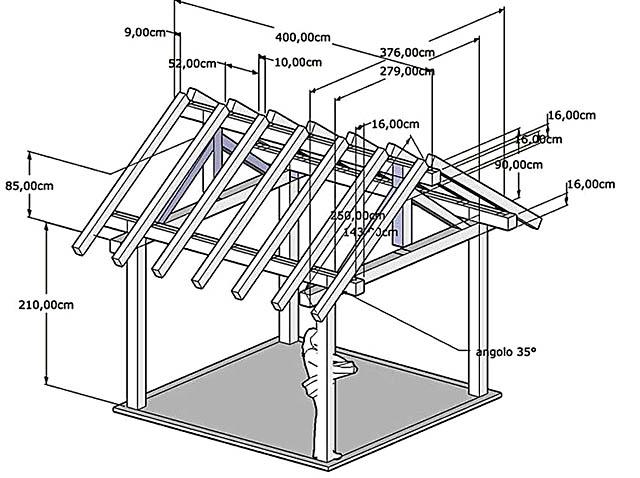 Чертеж верхнего строения с двускатной крышей для отдельной открытой и закрытой террасы