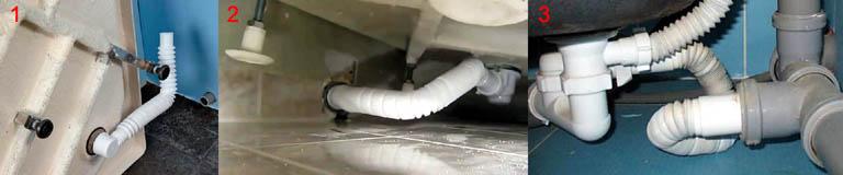 Примеры неправильного выполнения гибкого отвода стока из душевой кабины