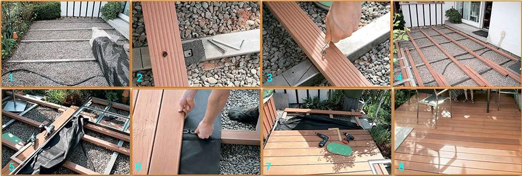 Сборка настила террасы из древесно-полимерного композита (ДПК, декинга) своими руками