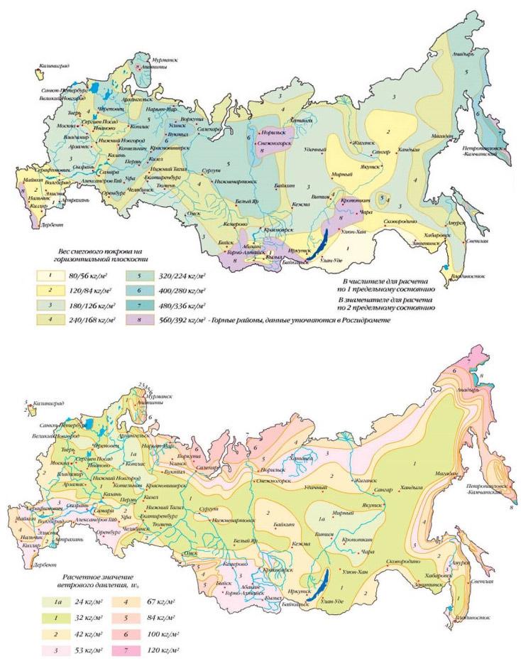 Снеговые и ветровые нагрузки на территории РФ