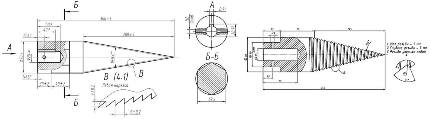 Чертежи винтовых колунов для винтового дровокола
