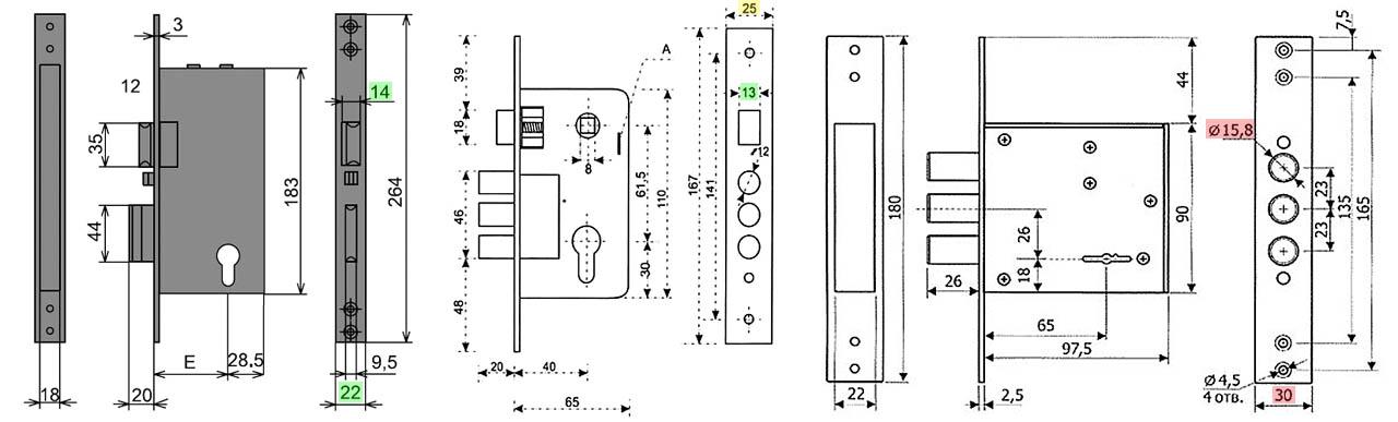 Габаритные чертежи замков для межкомнатных дверей в прямоугольных корпусах
