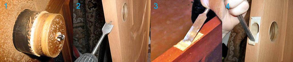 Неправильные и правильные приемы работы ручным инструментом при врезке замка в дверь