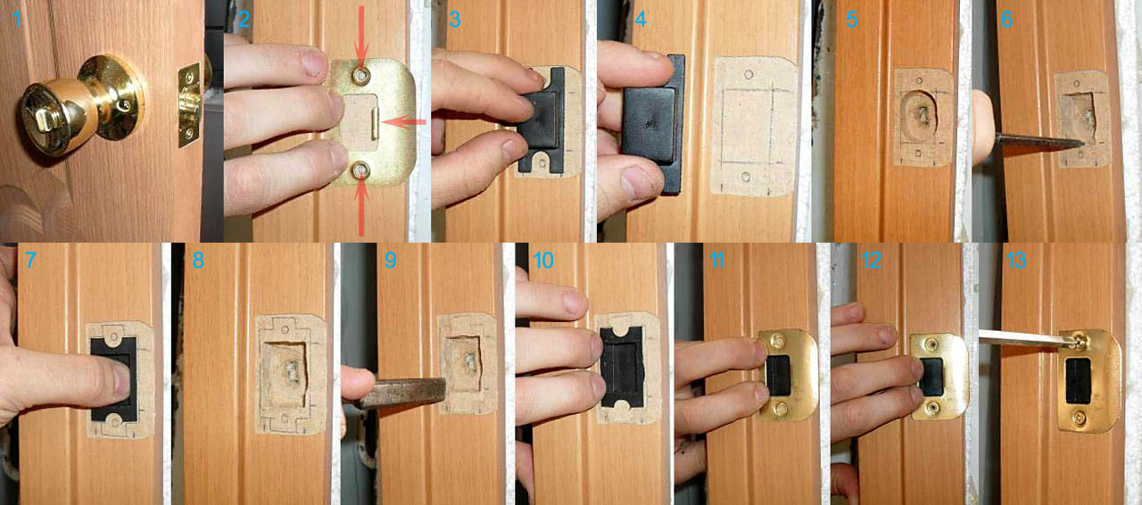 Установка ответной части замка межкомнатной двери