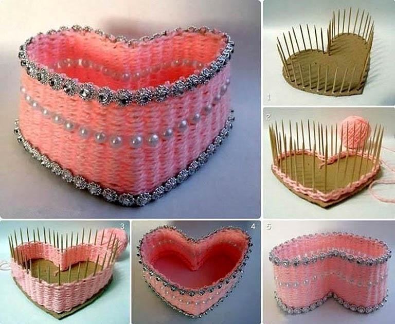 Как сделать красивую шкатулку-сердечко из ниток