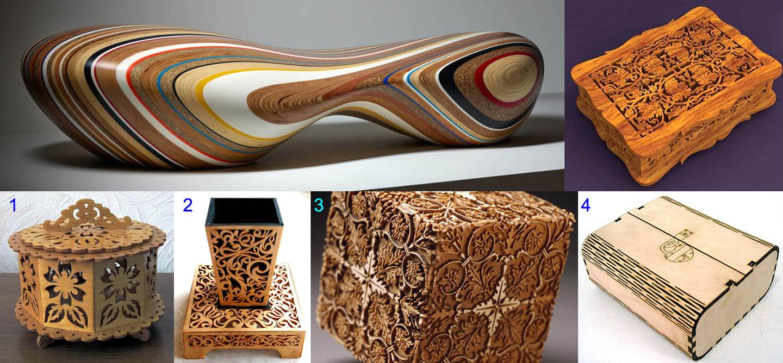 Образцы дизайнерских изделий из фанеры