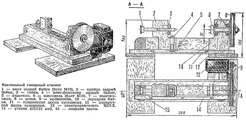 Устройство и чертежи настольного мини токарного станка по дереву.