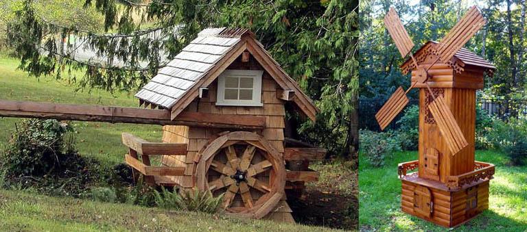 Декоративные мельницы - водяная и ветряная