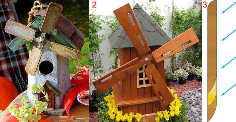 Декоративные ветряные мини-мельницы с цельнодеревянными лопастями