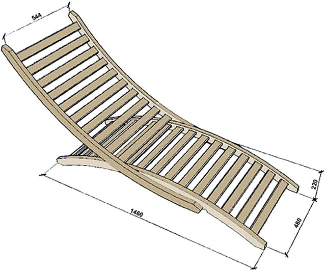 Конструкция и размеры разборного анатомического шезлонга