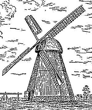Старинная ветряная мельница в граненой башне