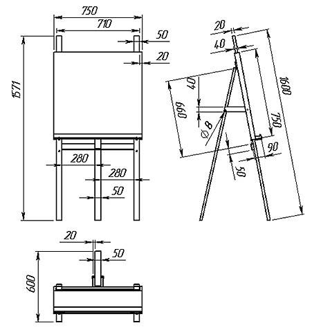Схема устройства и размеры усиленного домашнего мольберта