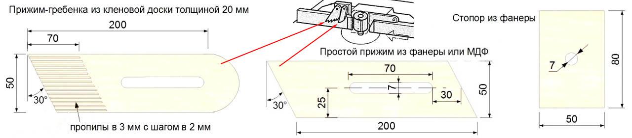 Чертежи вертикальных упоров для самодельного фрезерного стола по дереву
