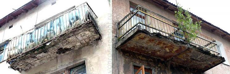 Ветхие балконы в разной степени износа