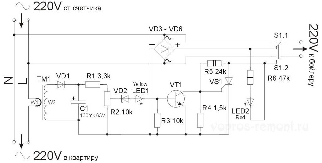 Электрическая принципиальная схема устройства автоматического отключения электробойлера