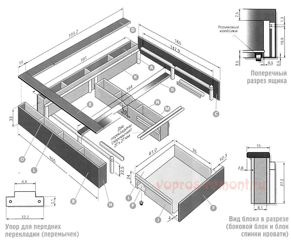 Схема сборки подиумной кровати
