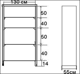 Размеры стеллажа для сенполий