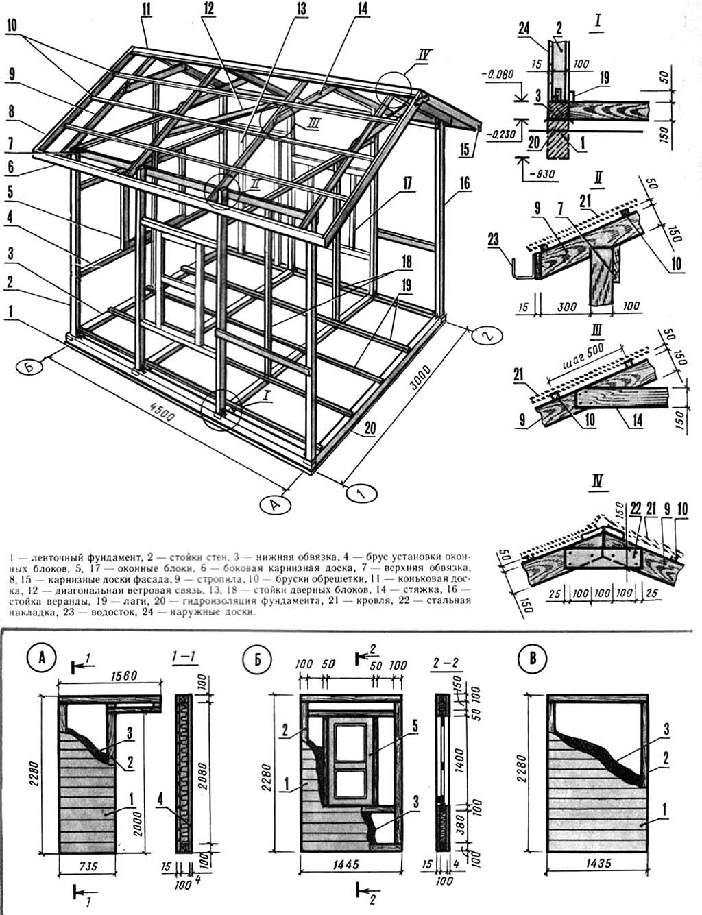 чертежи дачного мини-домика