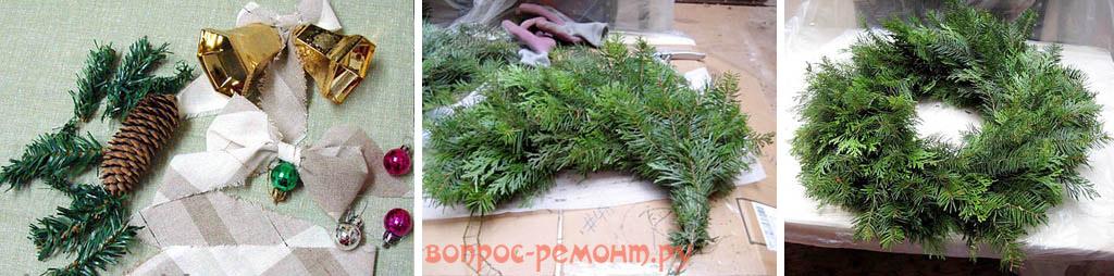 Изготовление простого новогоднего венка