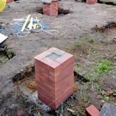 Неправильная кладка кирпичного фундаментного столба