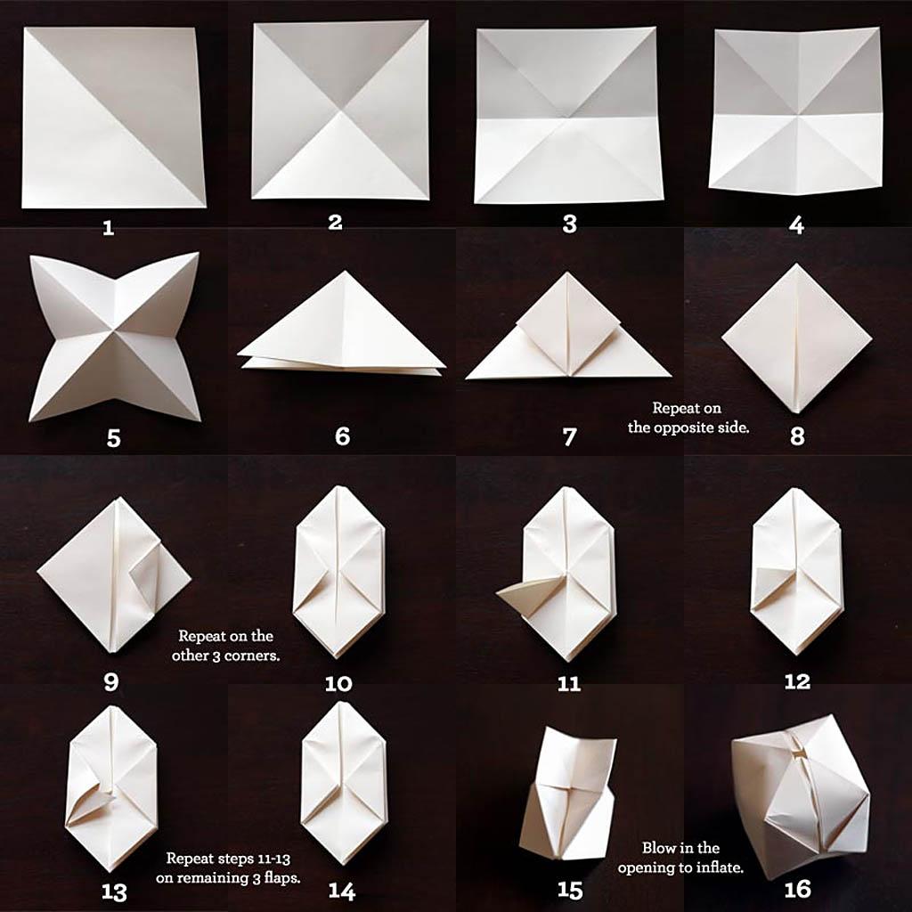 Плафон для елочной гирлянды из лампочек в технике оригами