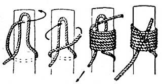 Наложение марки на конец троса