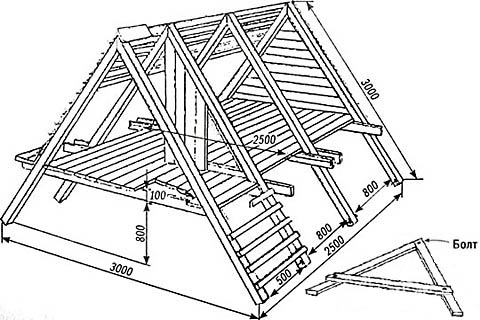 2-х уровневый детский домик-шалаш