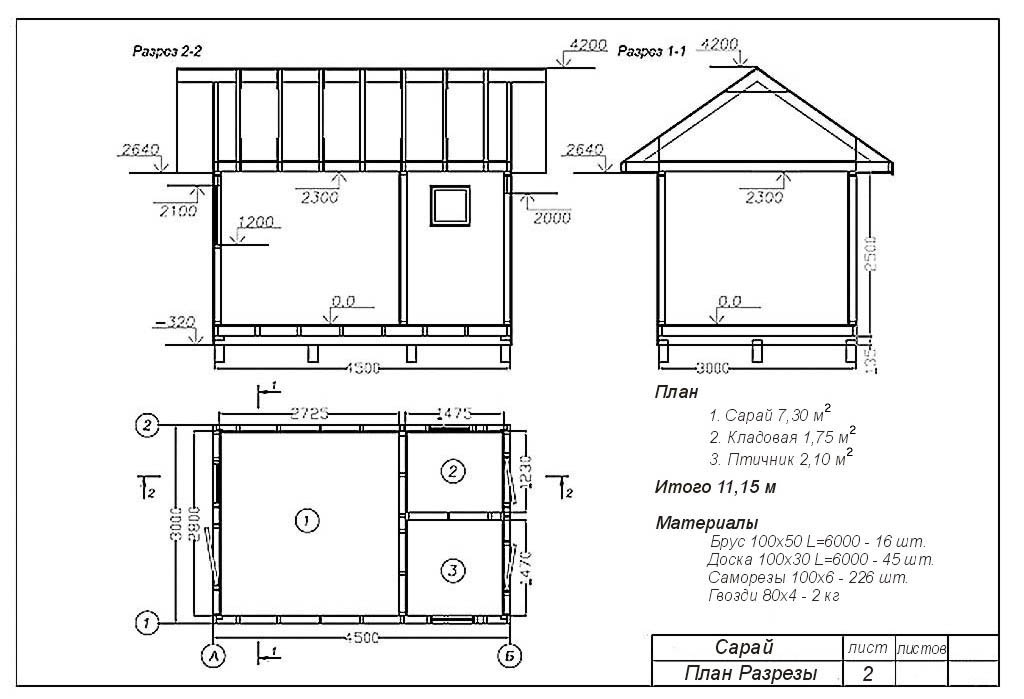 Лист план-разрезов из проекта сарая