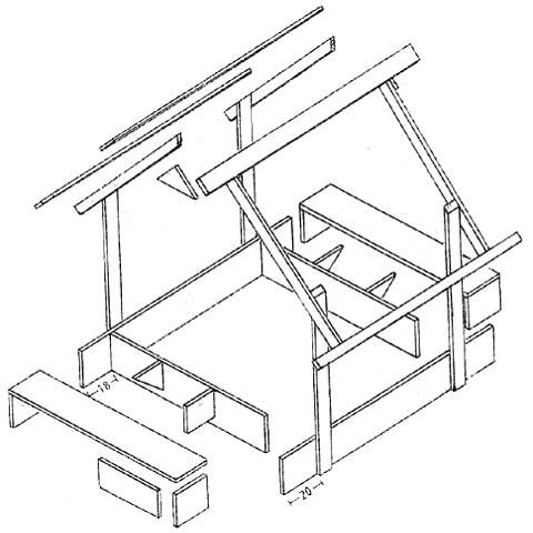Схема устройства песочницы-домика
