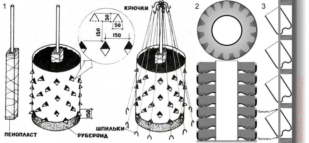 Устройство вертикальных клумб из бочки, шин и бутылок