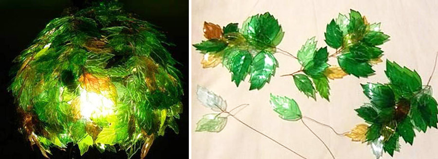 Абажур из самодельных пластиковых листьев