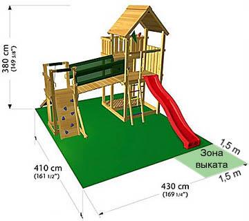 Зона безопасности типового игрового домика с горкой