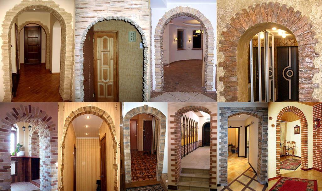 Межкомнатные арки, облицованные искусственным камнем