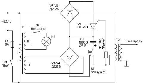 Схема простого формирователя импульсов для контактной сварки