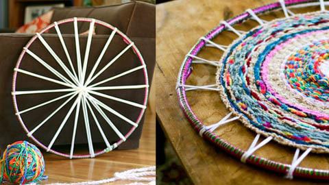 Плетение круглого коврика из лоскутных косичек на обруче