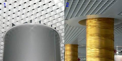 Обводка колонн потолком грильято