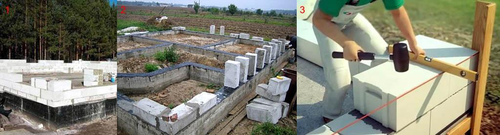 Начальные стадии возведения стен из пеноблоков/газоблоков