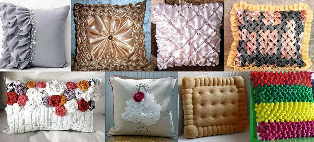 Декорирование подушек объемными элементами