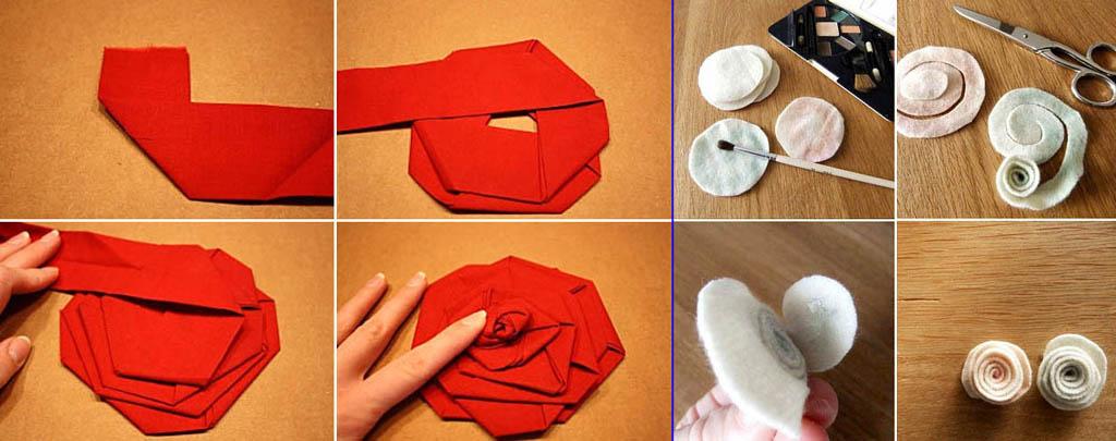 Простые способы изготовления розочек из ткани