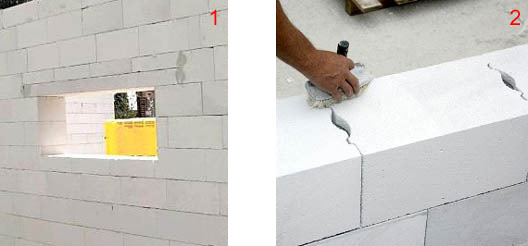 Заложение перемычки в стену из газоблоков и кладка фасонных газоблоков