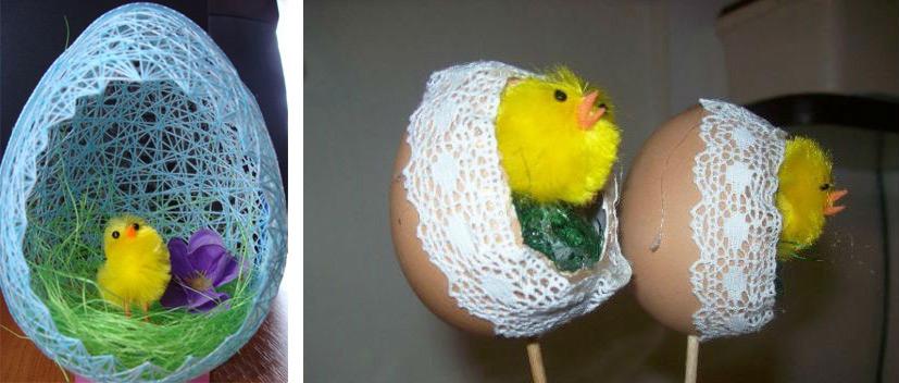 Большое и маленькие пасхальные яйца с цыплятами