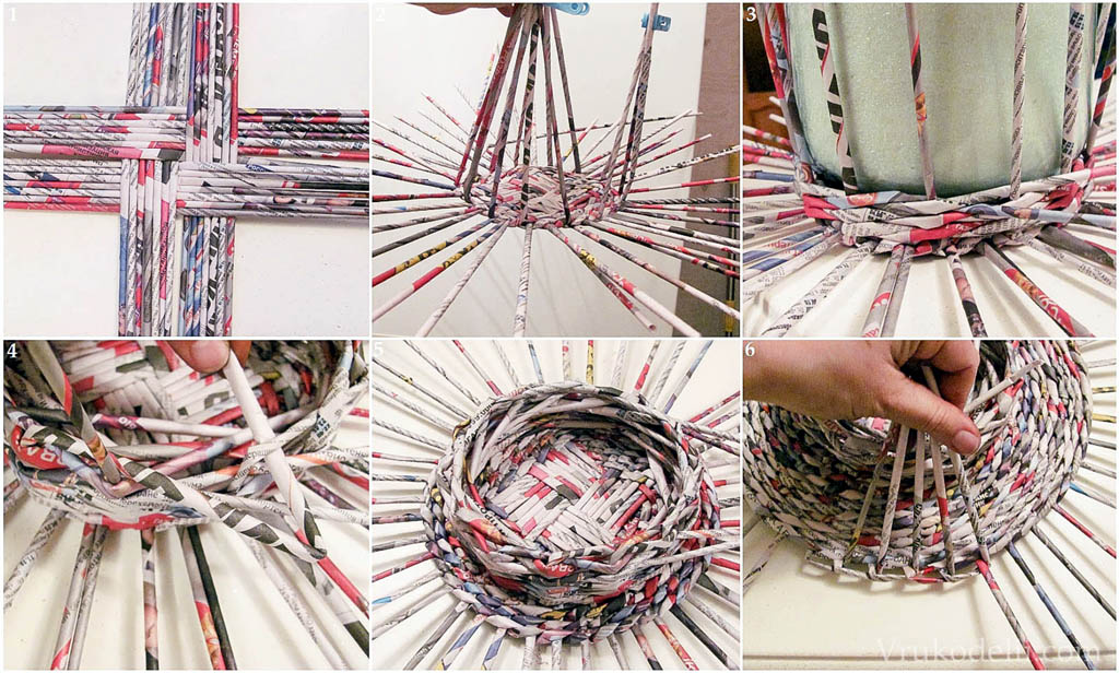Плетение корзинки из газетных трубочек
