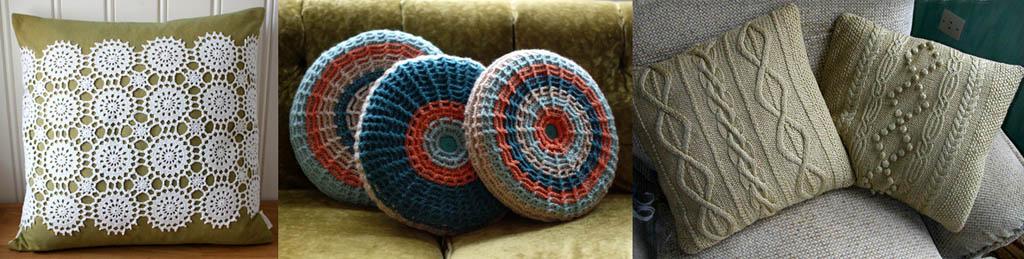 Кружевная и вязаные подушки