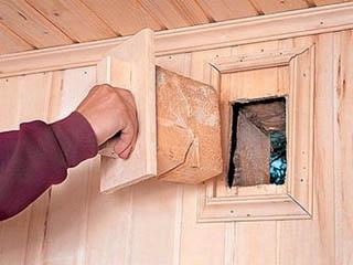 Устройство вентиляционной отдушины в бане