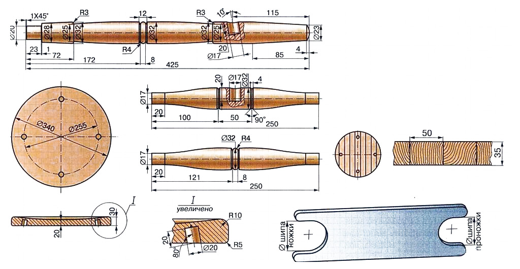 Чертежи деталей табурета на точеных ножках