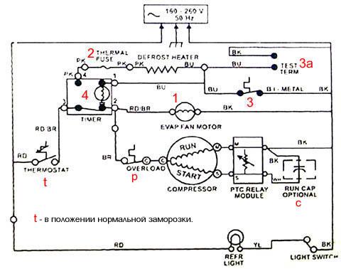 Электросхема холодильника типа No Frost марки Вирпул