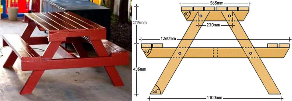 Внешний вид и чертежи столика для пикника или беседки из поддонов